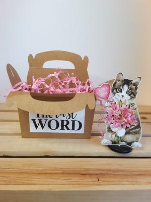 3-D cat with balloon and flowers and gift box
