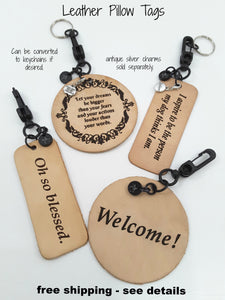 HANGING LEATHER PILLOW TAGS