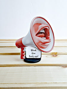 3-D megaphone shut your pie hole card gift
