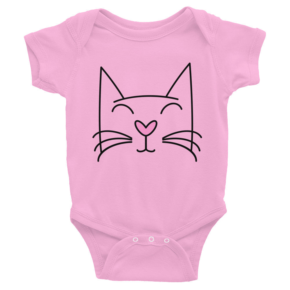 PRETTY KITTY ON PINK INFANT ONESIE