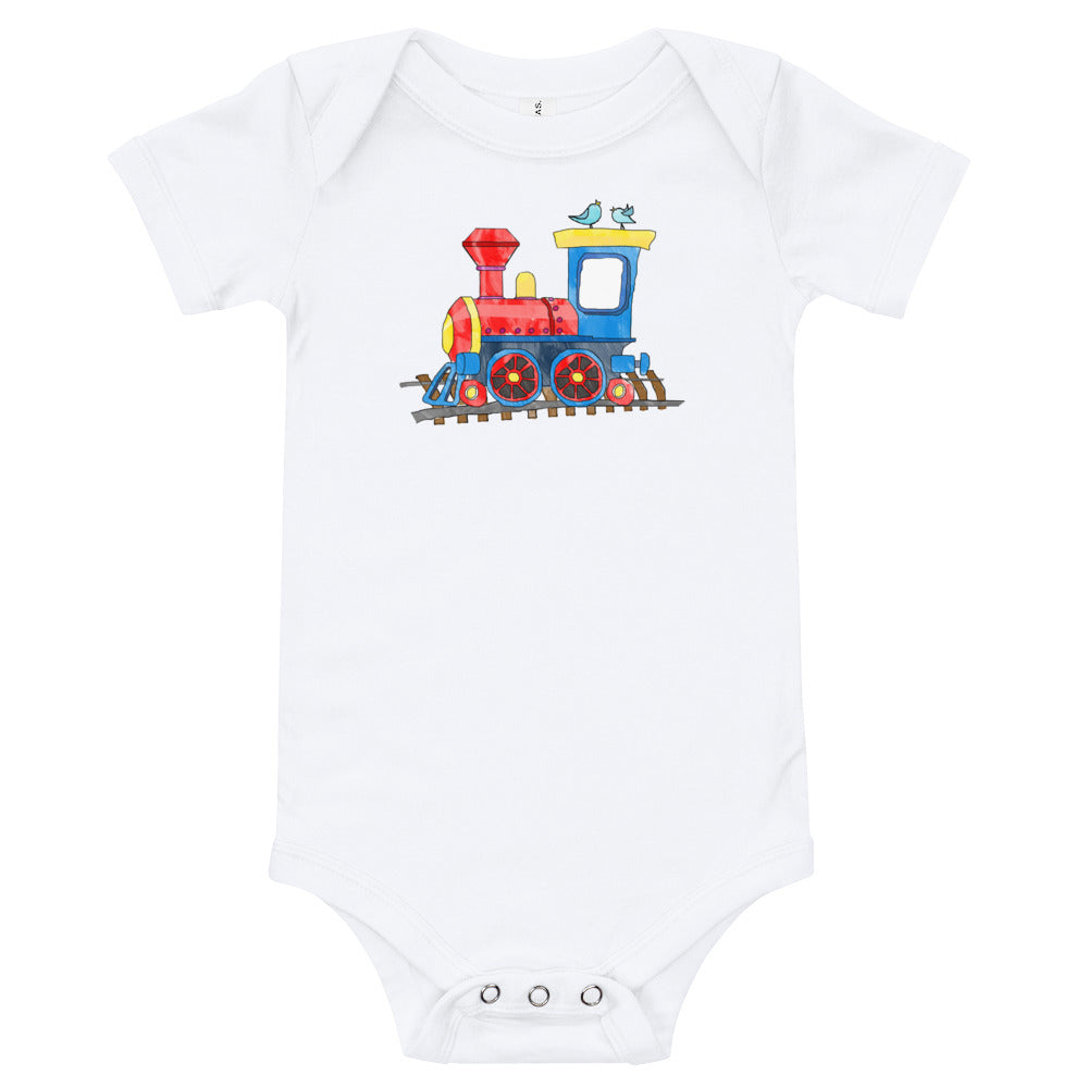 Toy Train Image on White Baby Boy T-Shirt Onesie - TheLastWordBish.com