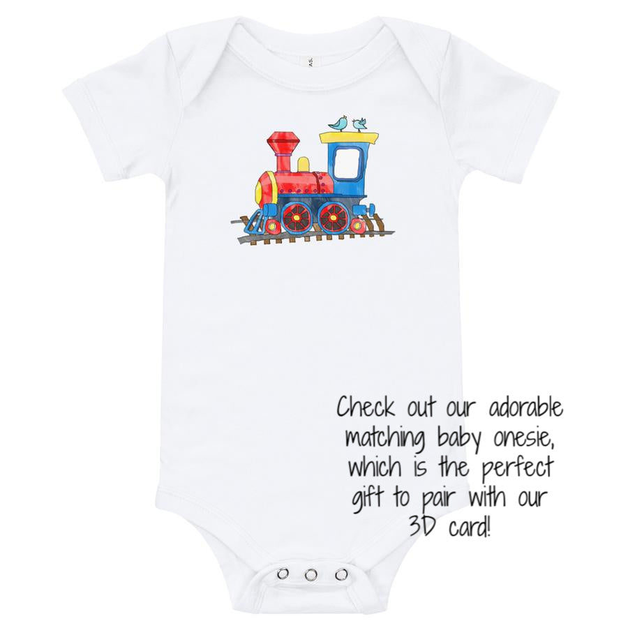 Baby onesie with train that matches 3D It's a Boy card
