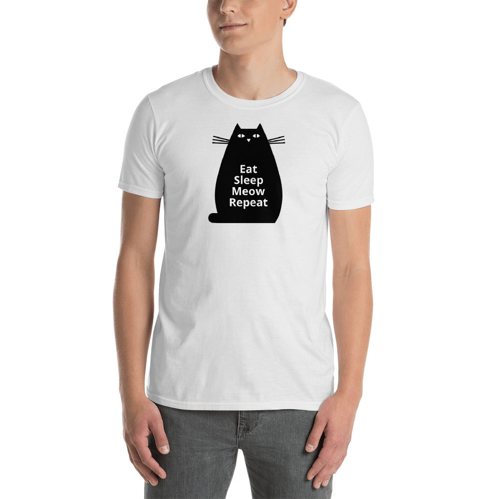 Black Cat Unisex T-Shirt with Eat, Sleep, Meow, Repeat - TheLastWordBish.com