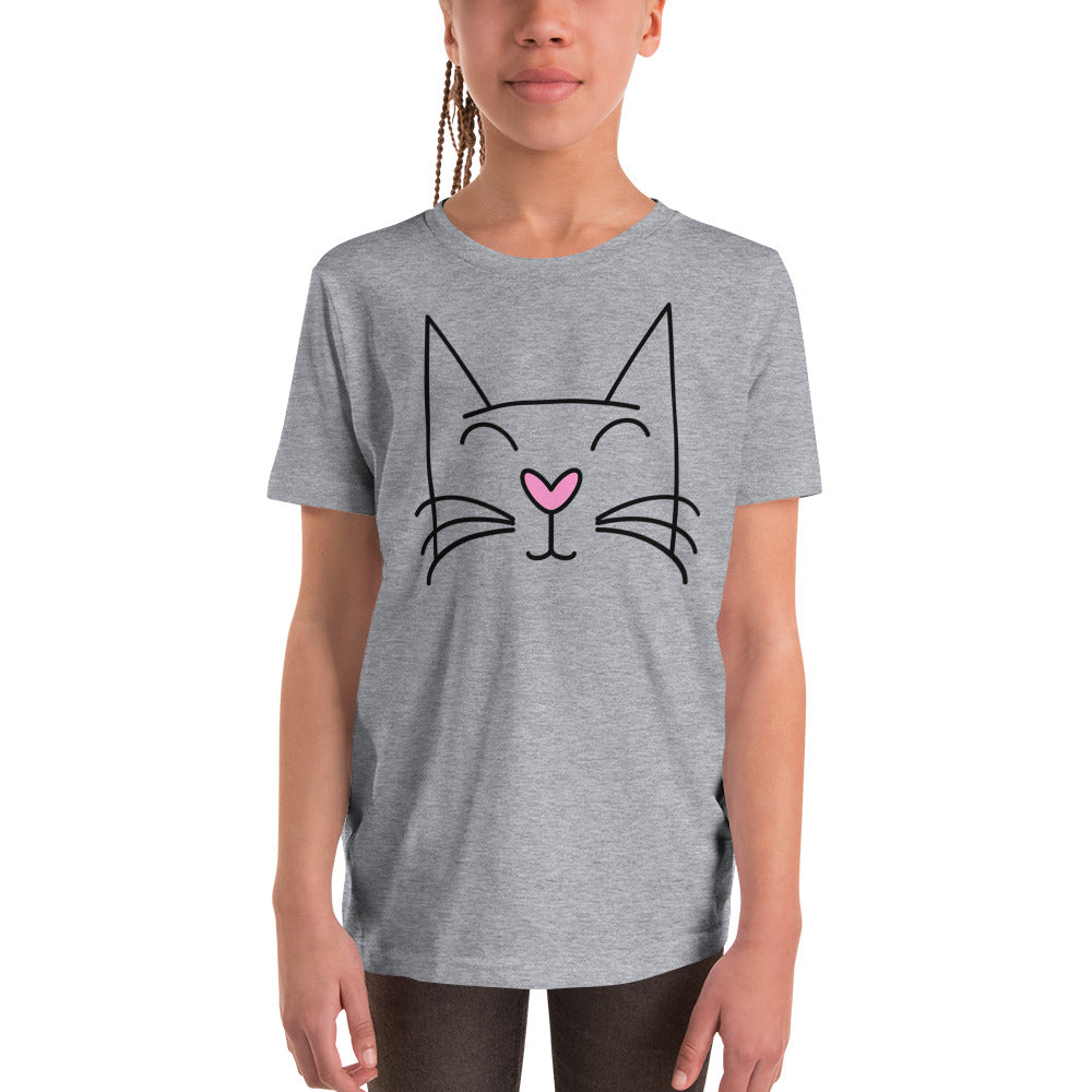Unisex Girl's Youth T-Shirt with Pretty Kitty Face - TheLastWordBish.com