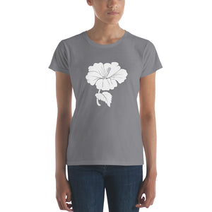 White Hibiscus Flower on Women's T-shirt - Free Shipping - TheLastWordBish.com