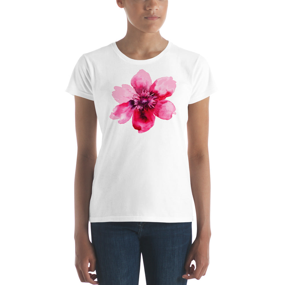 Pretty in Pink Watercolor Floral Women's  T-shirt - Free Shipping! - TheLastWordBish.com