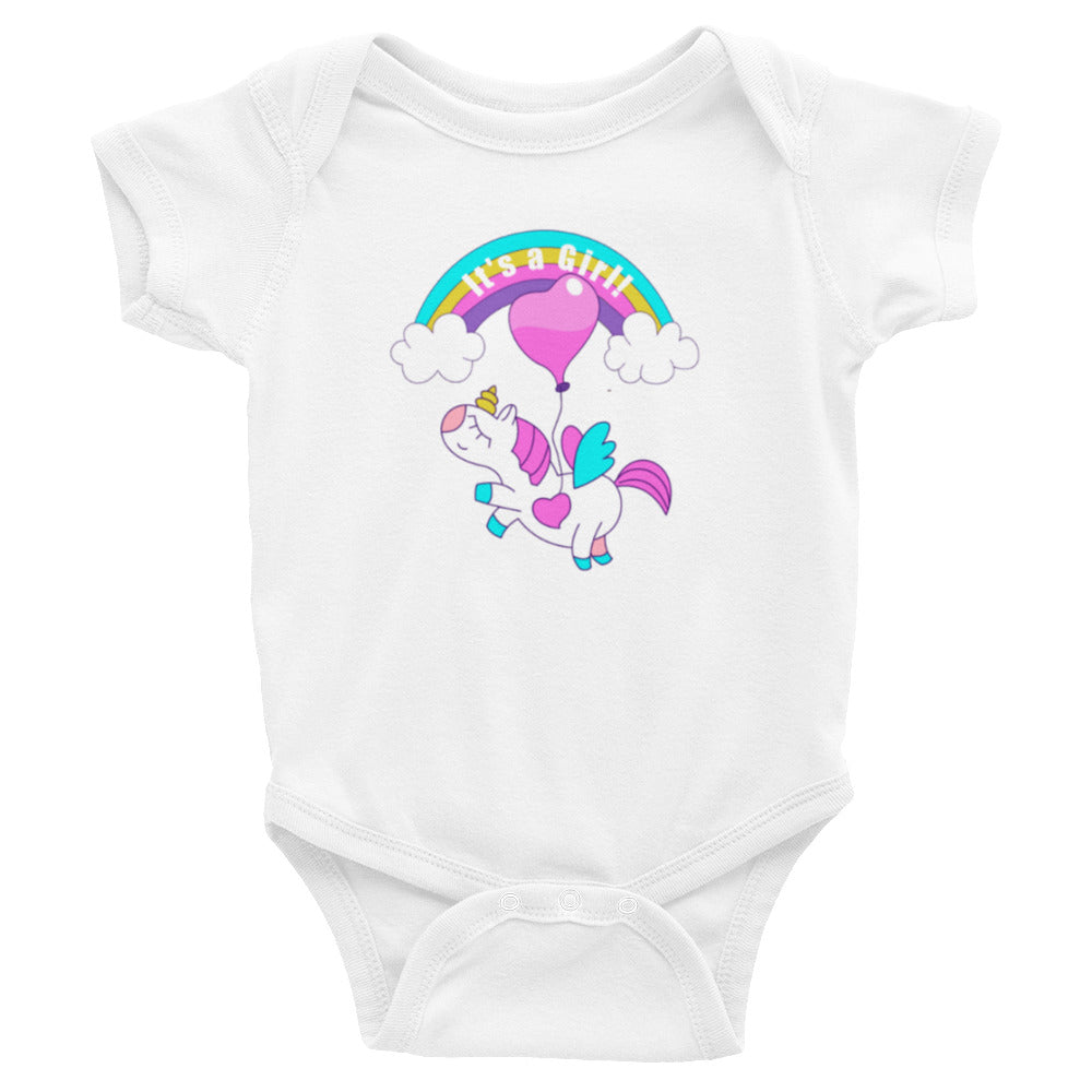 It's a Girl Infant Bodysuit with Unicorn and Rainbow - TheLastWordBish.com