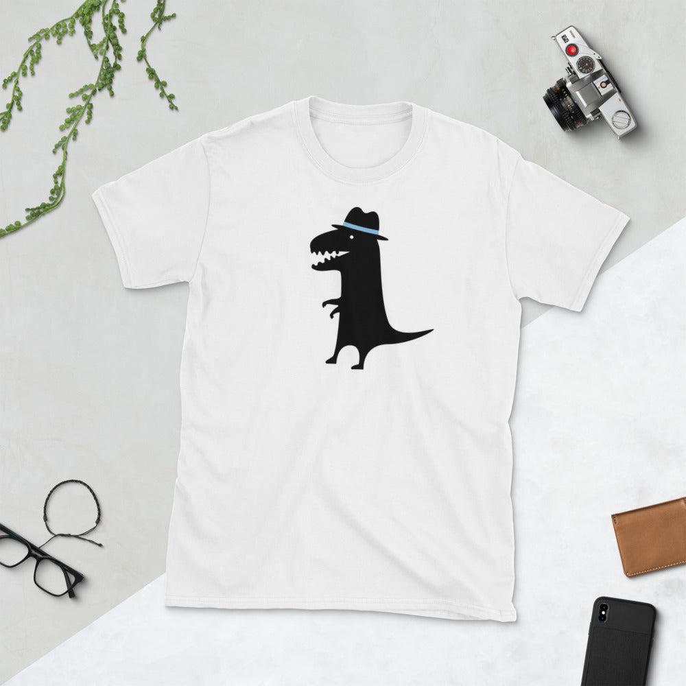 Cool Black Dinosaur with Fedora Hat Featured on White Unisex T-Shirt - TheLastWordBish.com