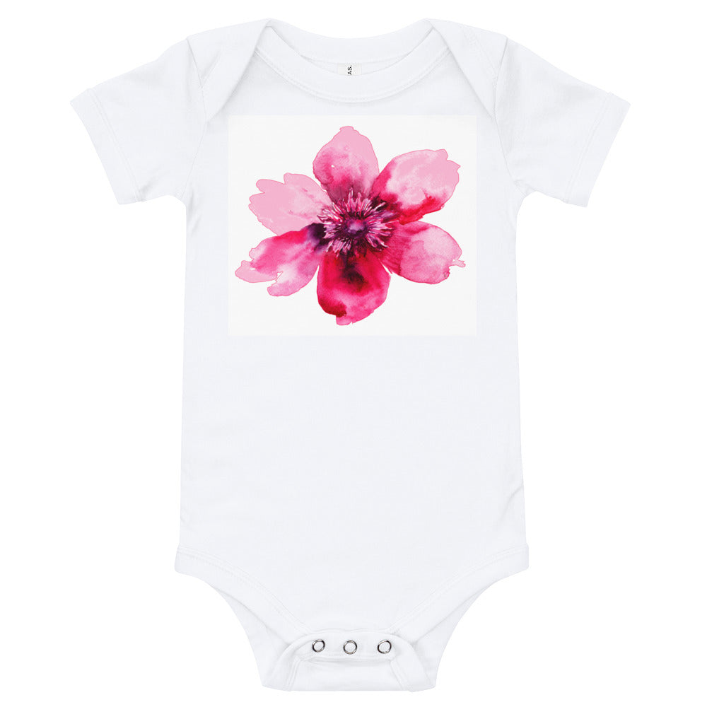 Baby Onesie T-Shirt with Beautiful Pink Flower - TheLastWordBish.com