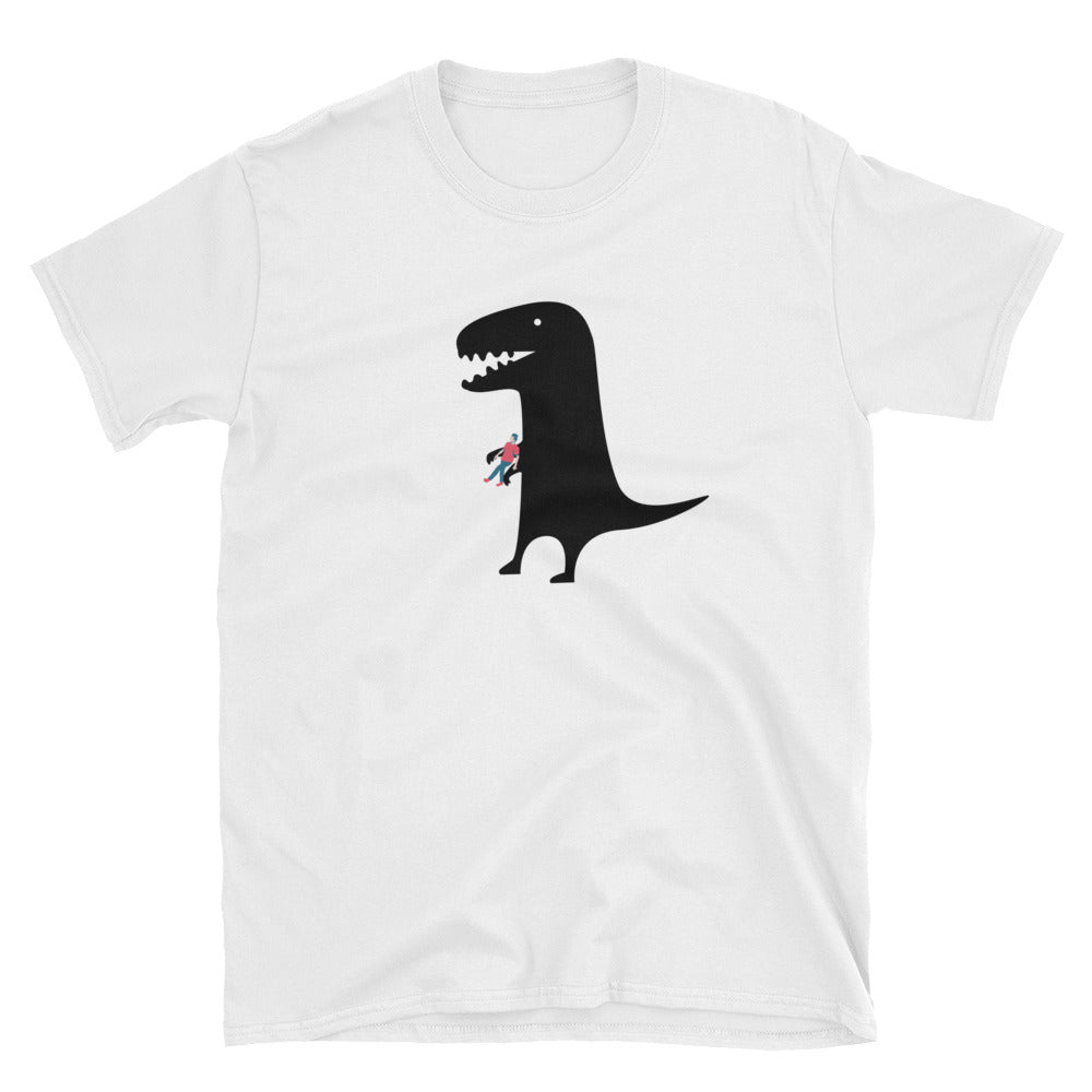 Funny Dinosaur with Toy Human on White Unisex T-Shirt - TheLastWordBish.com