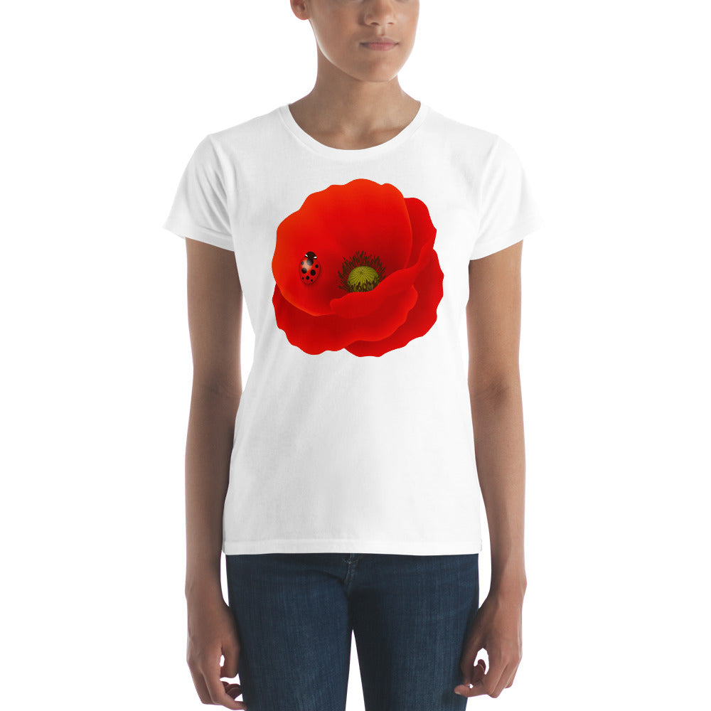 Beautiful Red Poppy on Women's T-shirt - Free Shipping! - TheLastWordBish.com