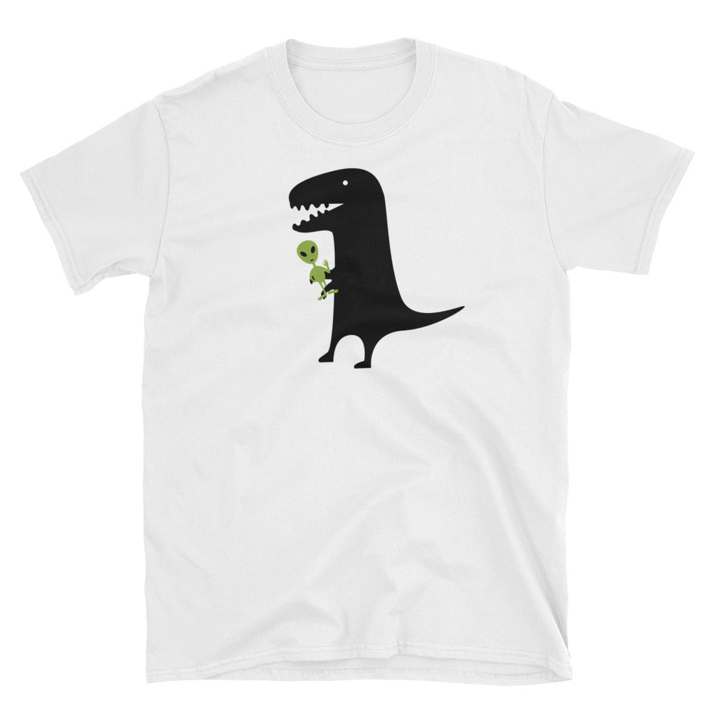 Funny Black Dinosaur with Green Alien on White Unisex T-Shirt - TheLastWordBish.com