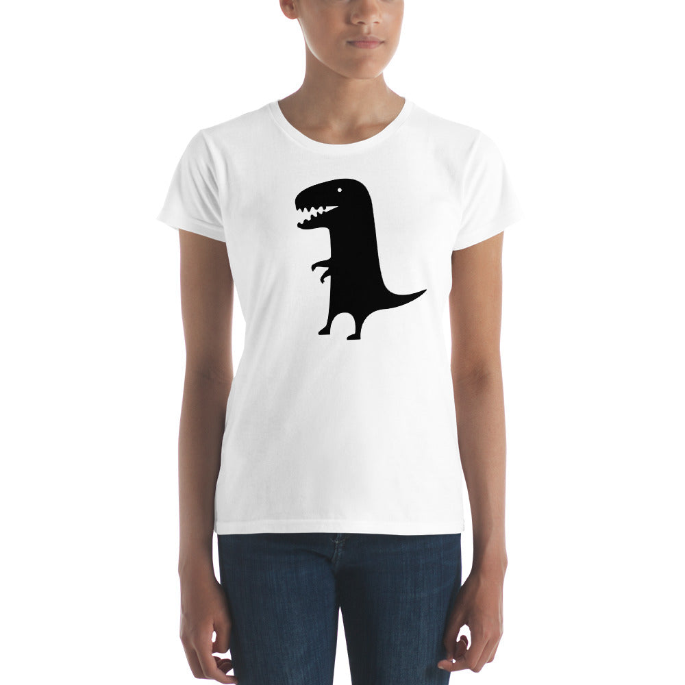 Black Dinosaur on White Women's T-shirt - TheLastWordBish.com