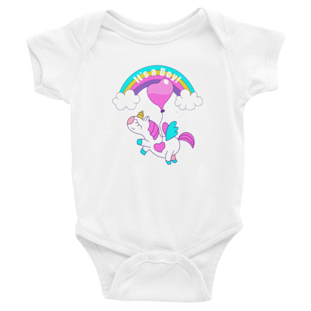 It's a Boy Baby Unicorn & Rainbow Bodysuit - Free Shipping! - TheLastWordBish.com