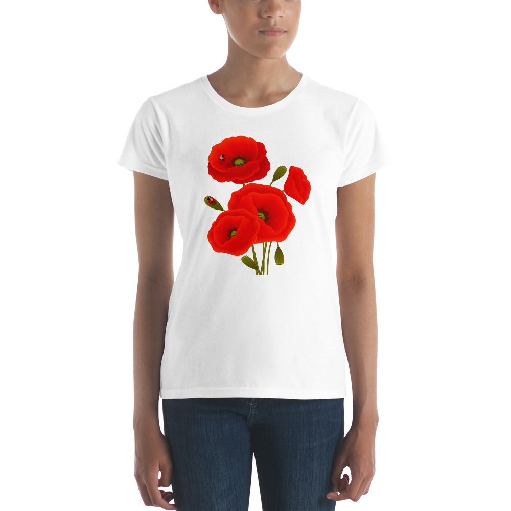 Red Poppy Bouquet on Women's T-shirt - TheLastWordBish.com