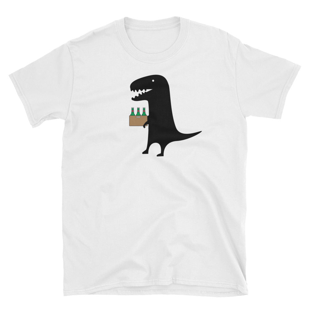 Our Party Animal Black Dinosaur with  Beer Featured on a White Unisex T-Shirt - TheLastWordBish.com