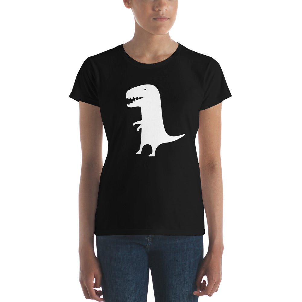 White Dinosaur on Black Women's T-shirt - Free Shipping! - TheLastWordBish.com