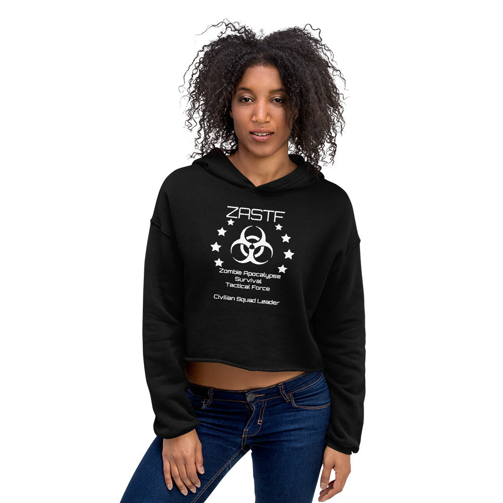 Zombie Apocalypse Survival Tactical Force Black Crop Hoodie - TheLastWordBish.com