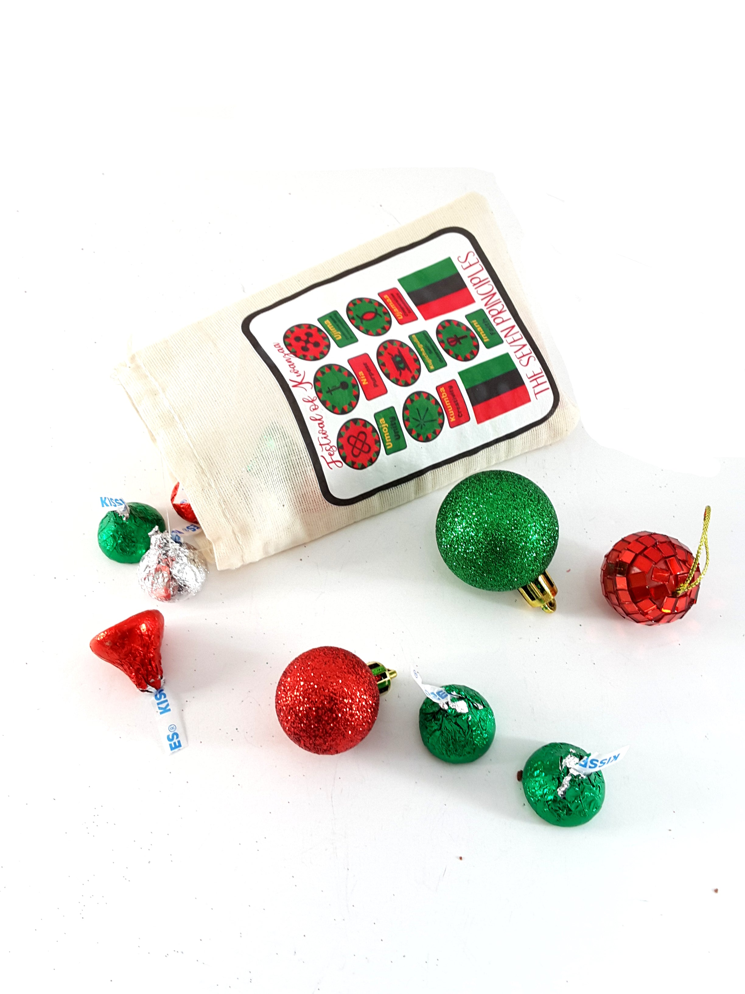 Festival of Kwanzaa Muslin Pouch with Holiday Chocolate Kisses - TheLastWordBish.com
