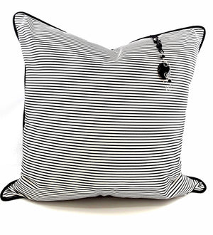 NARROW BLACK & WHITE STRIPE DENIM PILLOW WITH BLACK AGATE CHARM