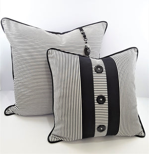 PAIR OF NARROW BLACK & WHITE STRIPE DENIM PILLOWS