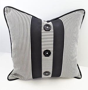 NARROW STRIPE DENIM PILLOW WITH 3 BUTTON CENTER