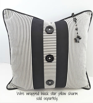 3-BUTTON NARROW BLACK & WHITE STRIPE DENIM PILLOW WITH CHARM