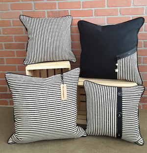 Detailed 3-Button Black Stripe Denim Pillow Cover - The Last Word Bish