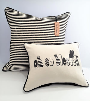 OH SO BLESSED natural denim pillow coupled with black and natural stripe pillow