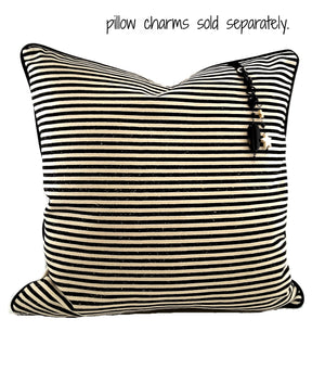 "Designer Black Striped Natural Denim Pillow Cover (Large) - 20""x20"" - The Last Word Bish"