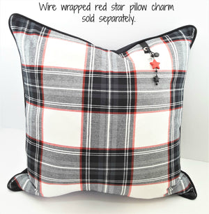 BLACK, WHITE & RED DENIM PLAID PILLOW WITH RED STAR CHARM