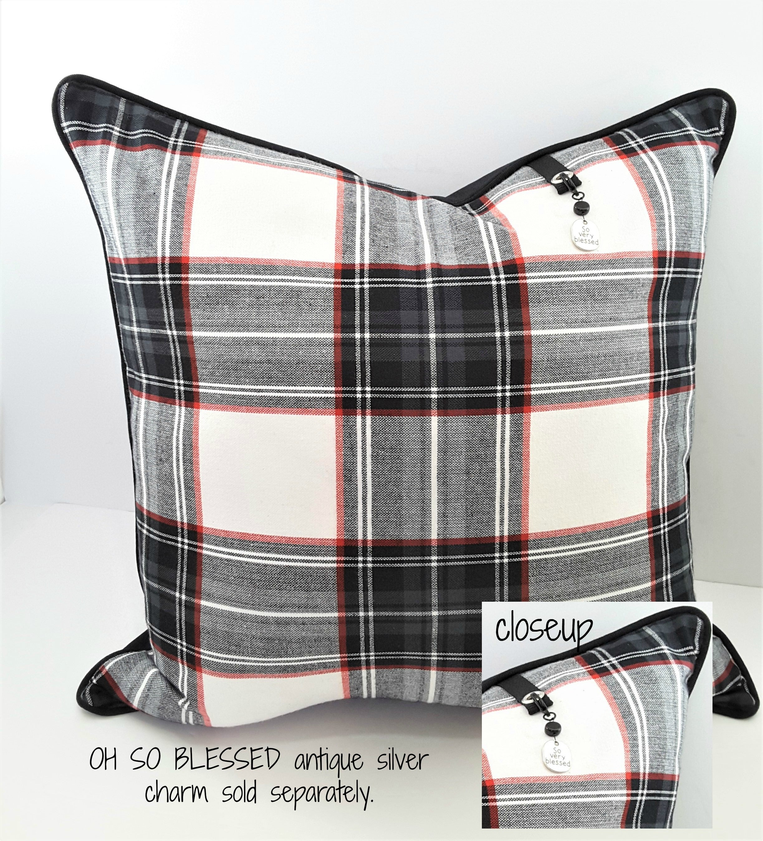 Black/White/Red Plaid Denim Pillow Cover - Free Shipping! - TheLastWordBish.com