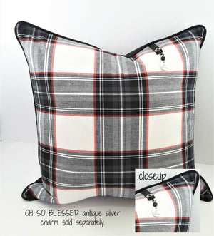 SO VERY BLESSED CHARM ON DENIM PLAID PILLOW