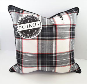 "6"" NO LIMITS BUTTON ON PLAID PILLOW"