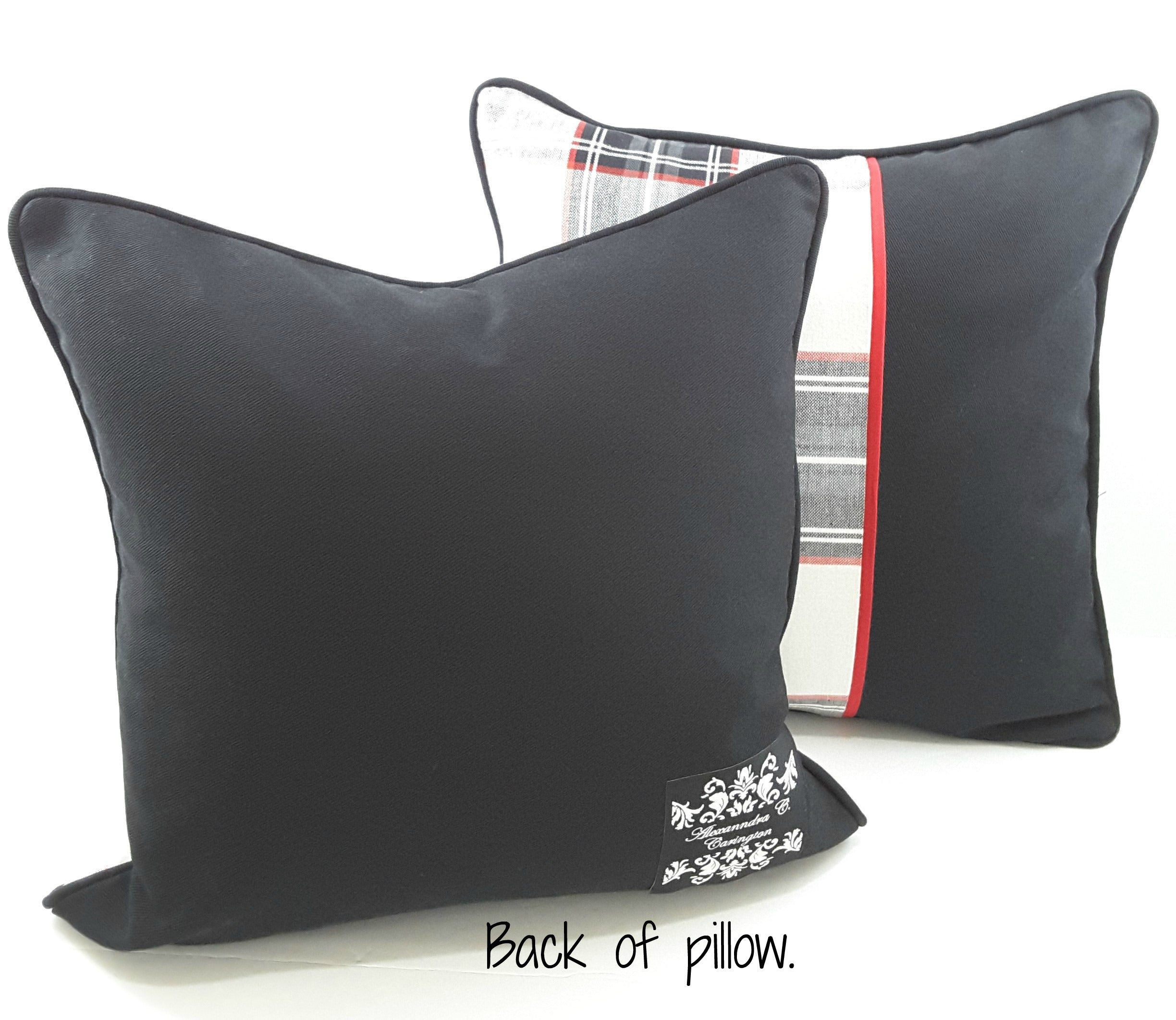 "Black/White/Red Plaid with Solid Black Panel Denim Designer Pillow Cover - 16""x16"""