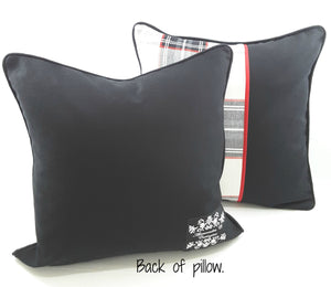 BACK & FRONT OF BLACK, WHITE & RED PLAID DENIM PILLOW W/BLACK ACCENT