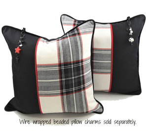 BLACK, WHITE & RED PLAID DENIM PILLOW W/BLACK ACCENT & CHARMS