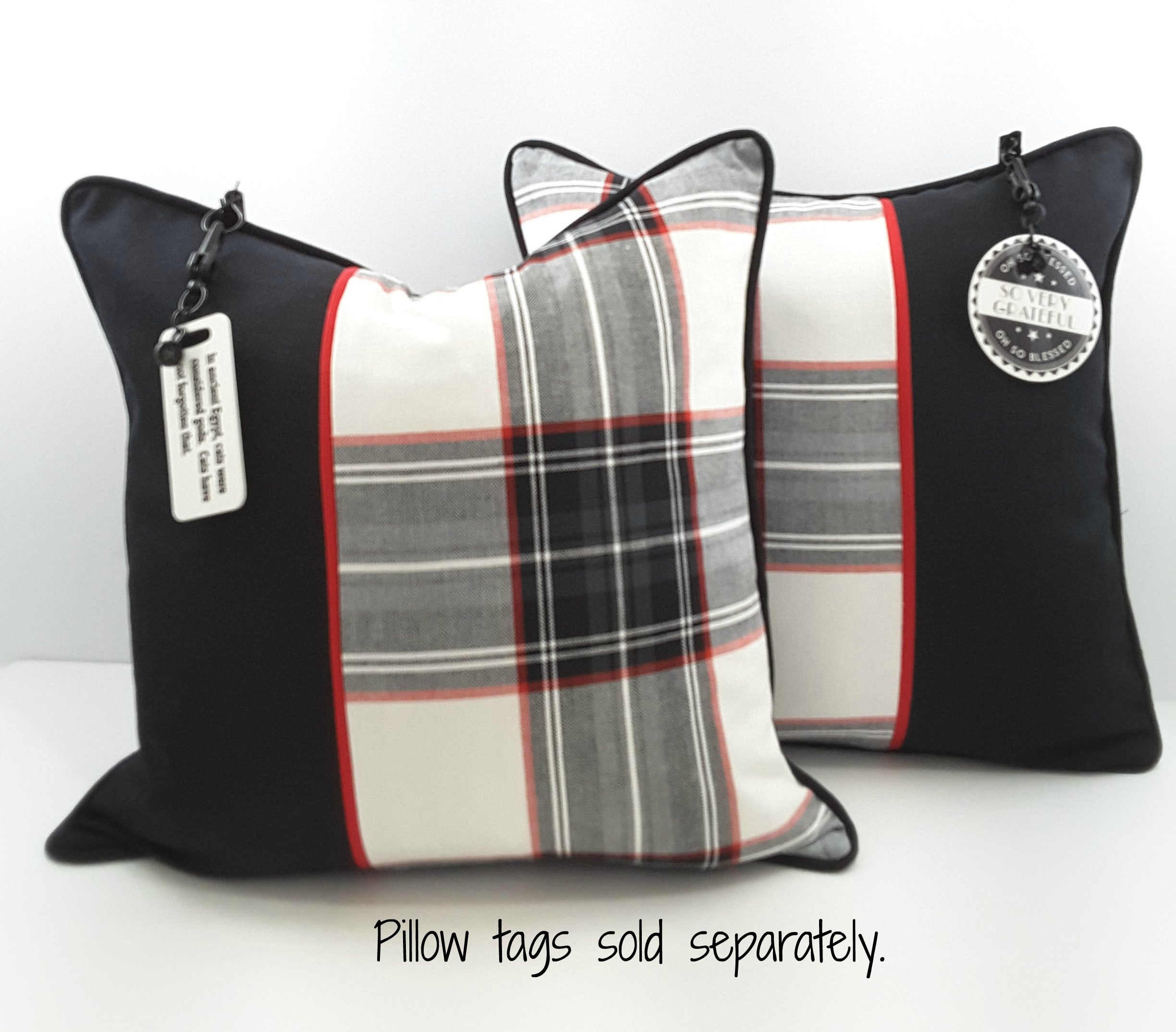 Decorator Plaid Pillows with Hanging Charms