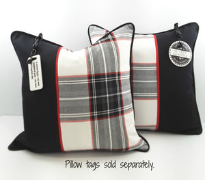 BLACK, WHITE & RED PLAID DENIM PILLOW WITH BLACK ACCENT AND PILLOW CHARMS