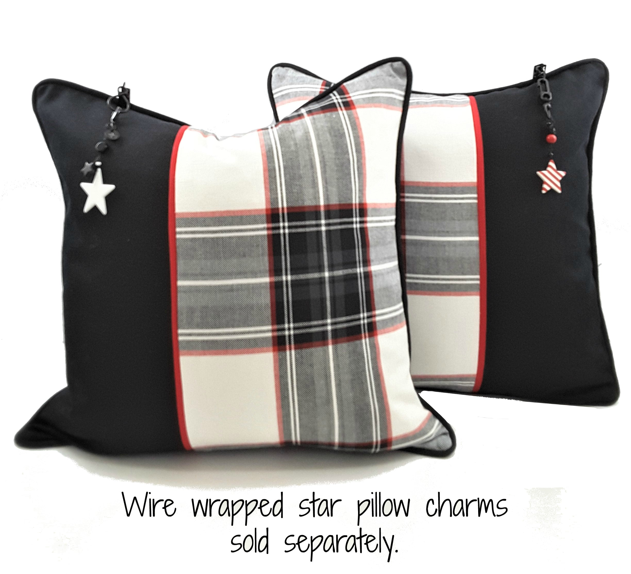BLACK ACCENT WITH BLACK, WHITE & RED PLAID DENIM PILLOWS WITH CHARMS