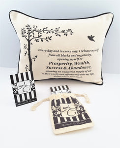 PROSPERITY AFFIRMATION pillow with matching muslin pouch and affirmation