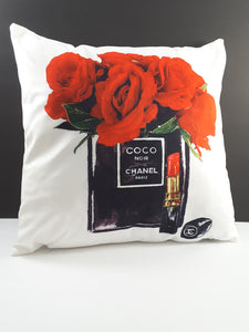 Pillow Cover with Bright Red Roses and Perfume - TheLastWordBish.com