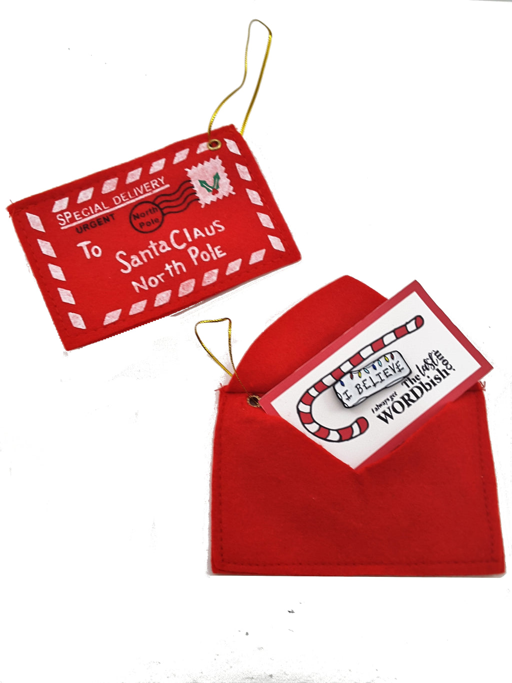 Santa Envelope Christmas Ornament - TheLastWordBish.com