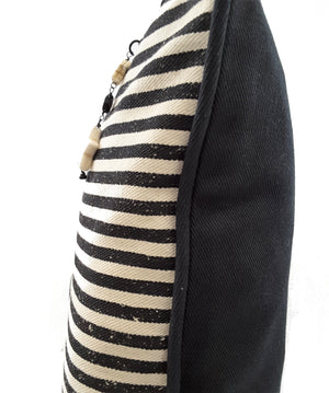 "Designer Black Striped Natural Denim Pillow Cover (Large) - 20""x20"""