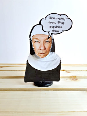 3-D Sister Mary Menopause gift card, go to hell