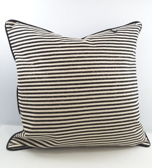 Black and natural stripe denim pillow with tab for pillow charm