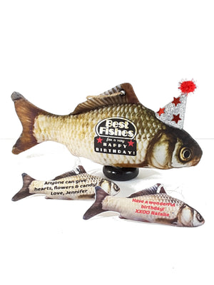 "Best Wishes with Fishes Stand Up Stuffed Carp All-Occasion ""Card"""