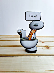 Arm Waving from Toilet Personalized 3D All Occasion Card - 4 versions - TheLastWordBish.com