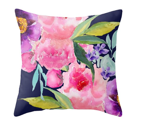 Watercolor Floral Pillow Cover - TheLastWordBish.com