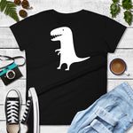 White Dinosaur on Black Women's T-shirt - TheLastWordBish.com